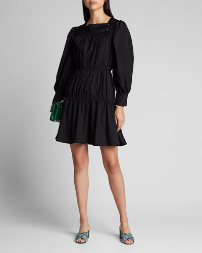 Allesandra Tiered Long-Sleeve Square-Neck Dress
