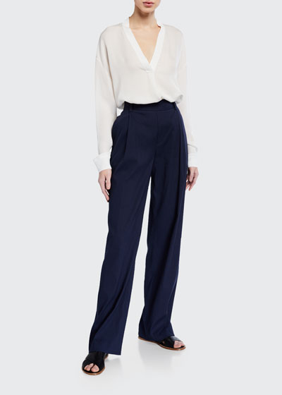 Pleated Front Pull-on Pants