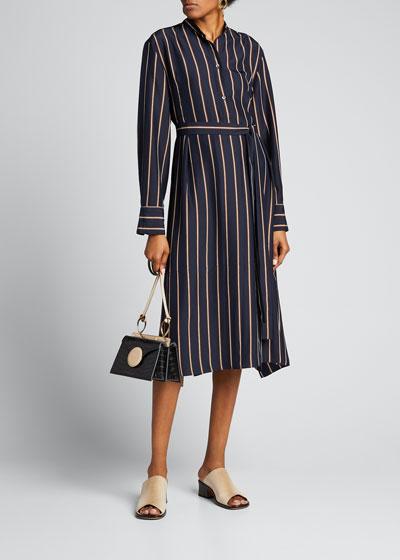 Silky Stripe Panel Belted Midi Dress