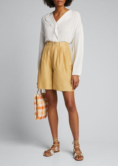 Silk Habutai Pleated Shorts