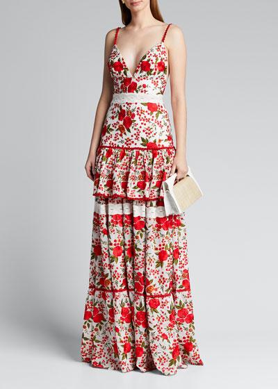 Naomie Tiered Rose-Print Long Dress