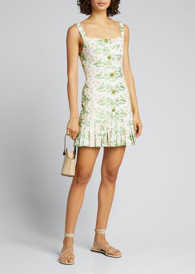 Tiri Embroidered Floral Pleated Mini Dress