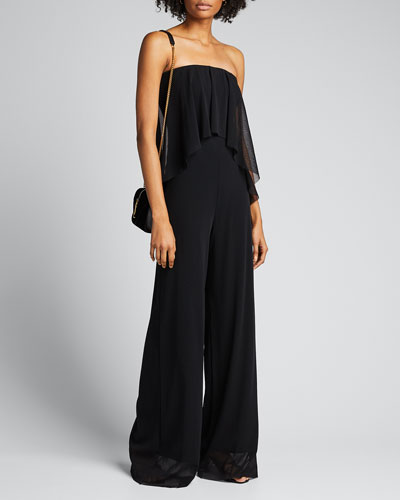 Strapless Solid Ruffle Jumpsuit
