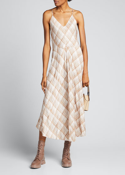 Hazy Plaid Midi Cami Dress