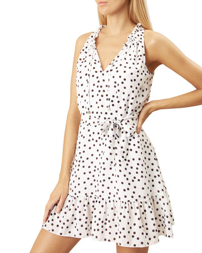 Ruffle-Neck Dot-Print Sleeveless Mini Dress