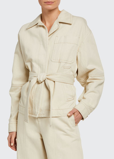 Cotton-Blend Belted Utility Jacket
