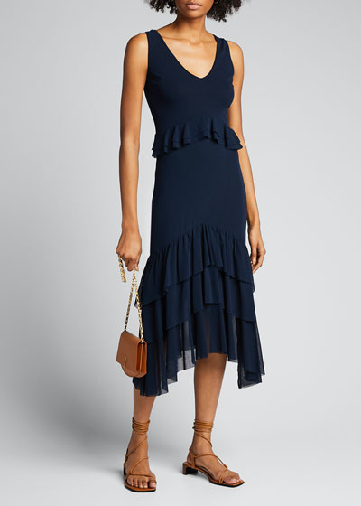 V-Neck Tiered Ruffle Solid Tank Dress
