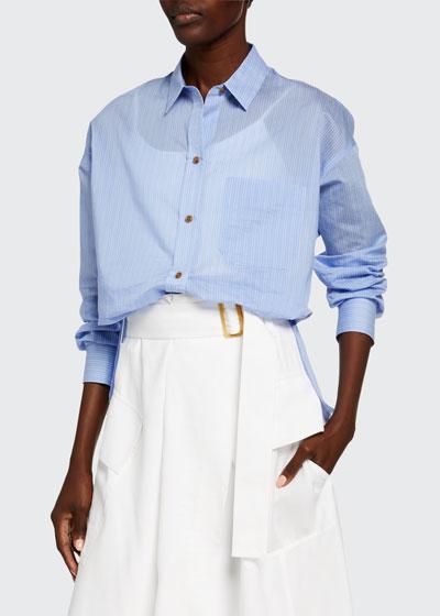 Fine Stripe Boxy Long-Sleeve Button-Down Shirt