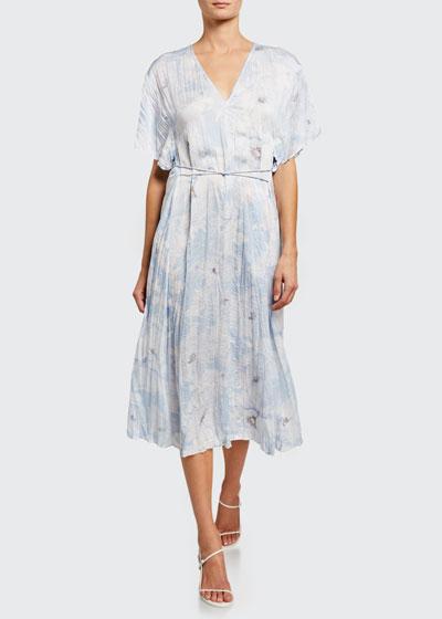 Painted Magnolia V-Neck Midi Dress