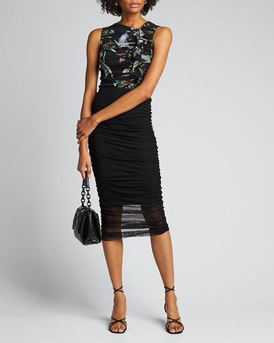 Bouquet Floral-Print Sleeveless Fitted Top