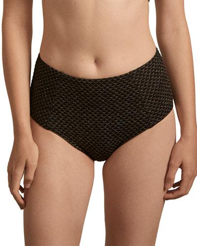 Jolie High-Waist Metallic-Jacquard Bikini Bottoms