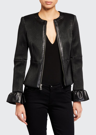 Jonie Leather Jacket w/ Ruffled Cuffs