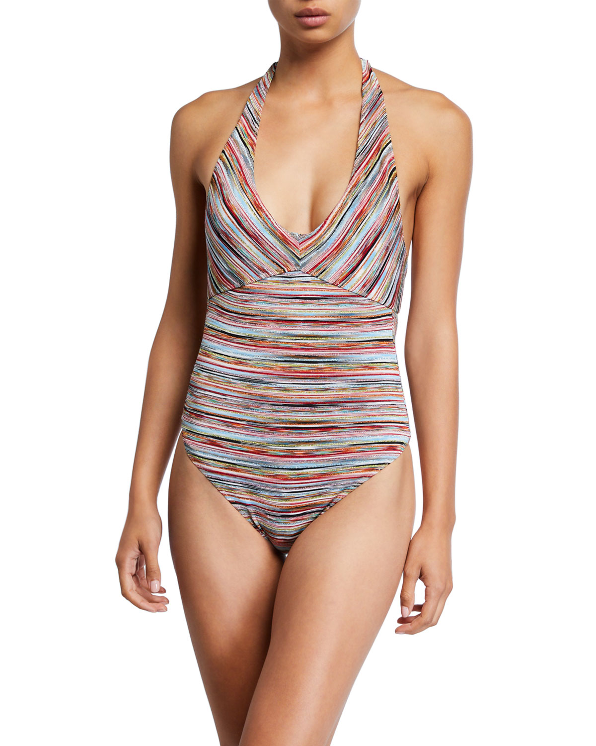 Missoni Suits STRIPED HALTER ONE-PIECE SWIMSUIT