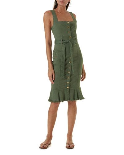 Ruby Frayed Denim Button-Front Bodycon Dress