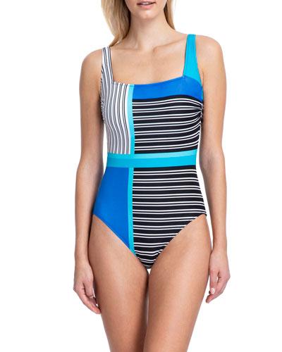 Blue Lagoon Square-Neck Tank One-Piece Swimsuit
