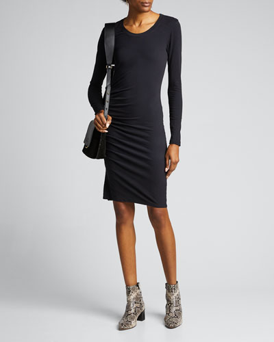 Ruched Long-Sleeve Scoop-Neck Dress
