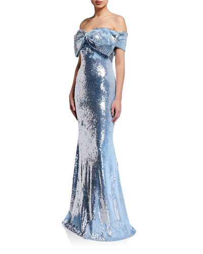 Sequin Bow Bustier Mermaid Gown