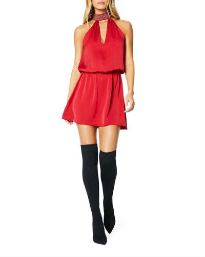 Raelyn Embellished Halter Mini Dress