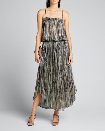 Lenon Striped Metallic Midi Skirt