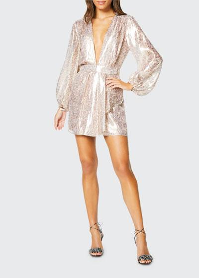 Amalia Plunging Metallic Cocktail Dress