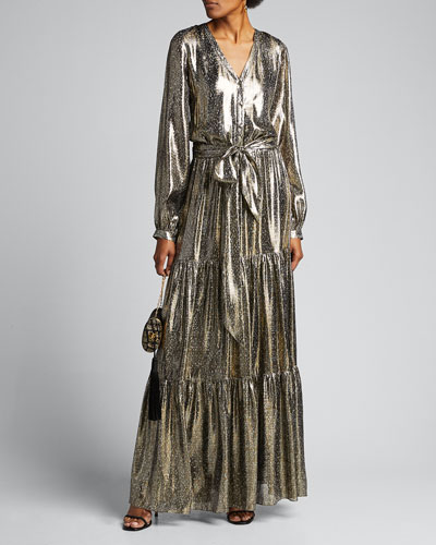 Gio Printed Metallic Long-Sleeve Tiered Dress