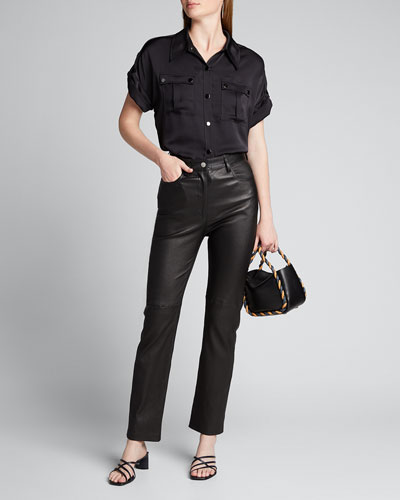 Sawyer Collared Satin Snap-Front Shirt