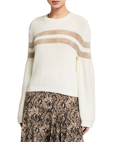 Georgiana Crewneck Open-Stitch Inset Sweater