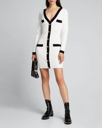 Colorblock Fitted Faux Cardi Dress