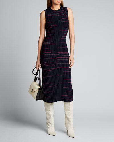 Striped Fit-&-Flow Sleeveless Dress