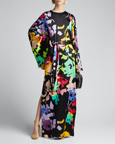 Lilliana Floral-Print Silk Bell-Sleeve Dress