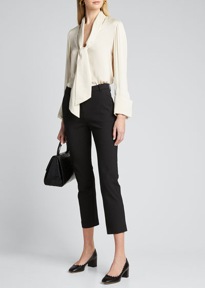 Rosina French Cuff Blouse with Tie