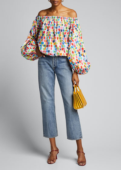 Andros Off-the-Shoulder Balloon-Sleeve Printed Crop Top