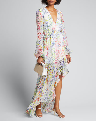 Liv Printed Long-Sleeve High-Low Gown