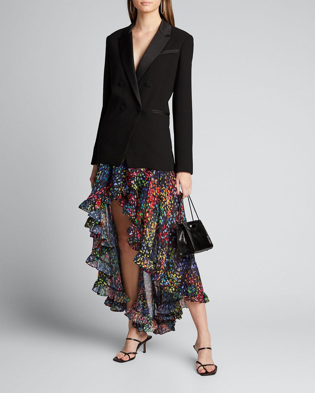Caroline Constas Skirts ADELLE PRINTED HIGH-LOW SKIRT
