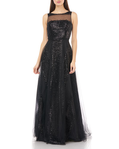 Sequin Stripe Sleeveless Illusion Bodice Tulle Gown