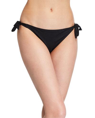 Side-Tie Eyelet Bikini Swim Bottoms with Narrow Sides