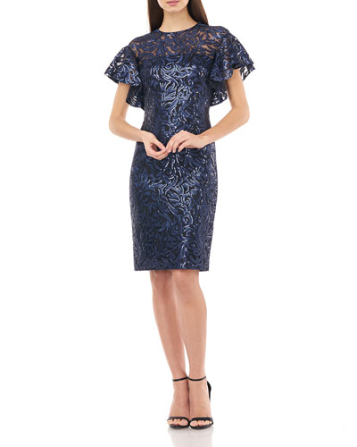 Sequin Jewel-Neck Flutter-Sleeve Sheath Dress