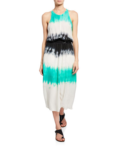 Tallulah Tie-Dye Belted Racerback Midi Dress