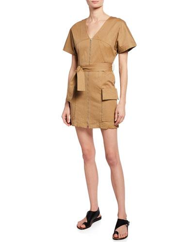 Bellamy Zip-Front Short-Sleeve Stretch-Cotton Dress
