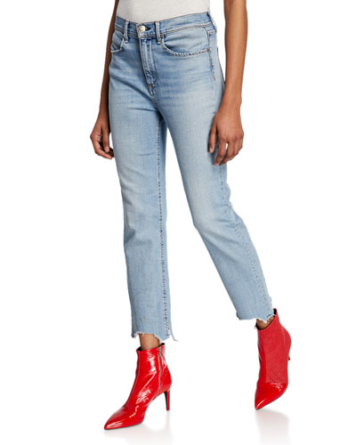 Nina High-Rise Ankle Cigarette Jeans w/ Chewed Hem