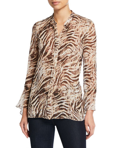 Chava Tiger Stripe Button-Down Long-Sleeve Blouse