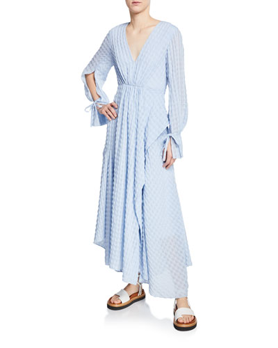 Long-Sleeve Flare Chiffon Maxi Dress