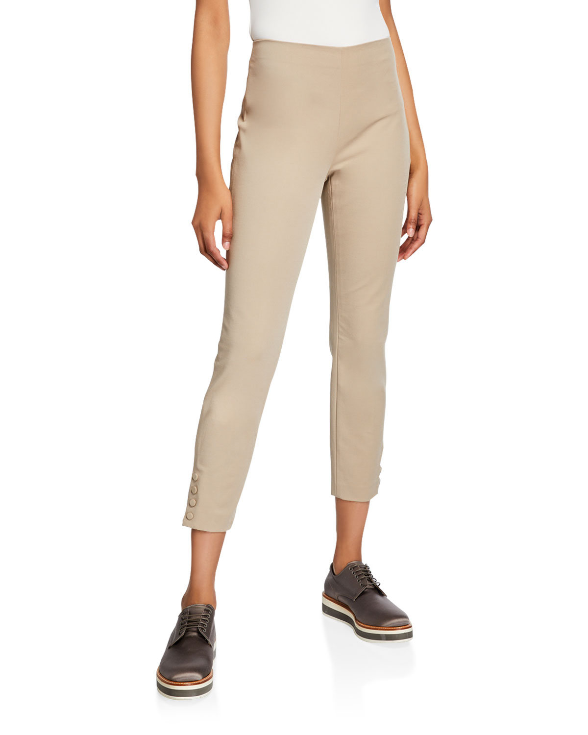 Theory Double-stretch Snap Leggings In Beige Stone
