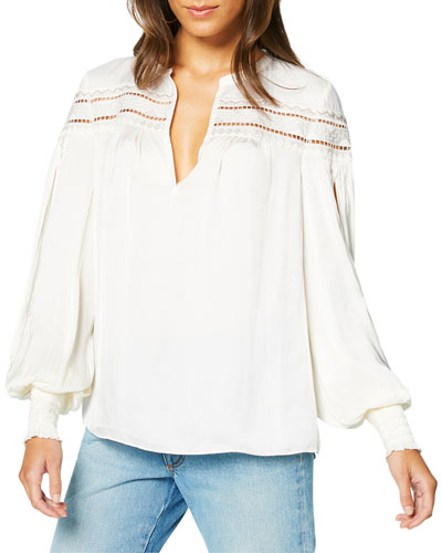 Maisy Ladder-Stitched Peasant Top