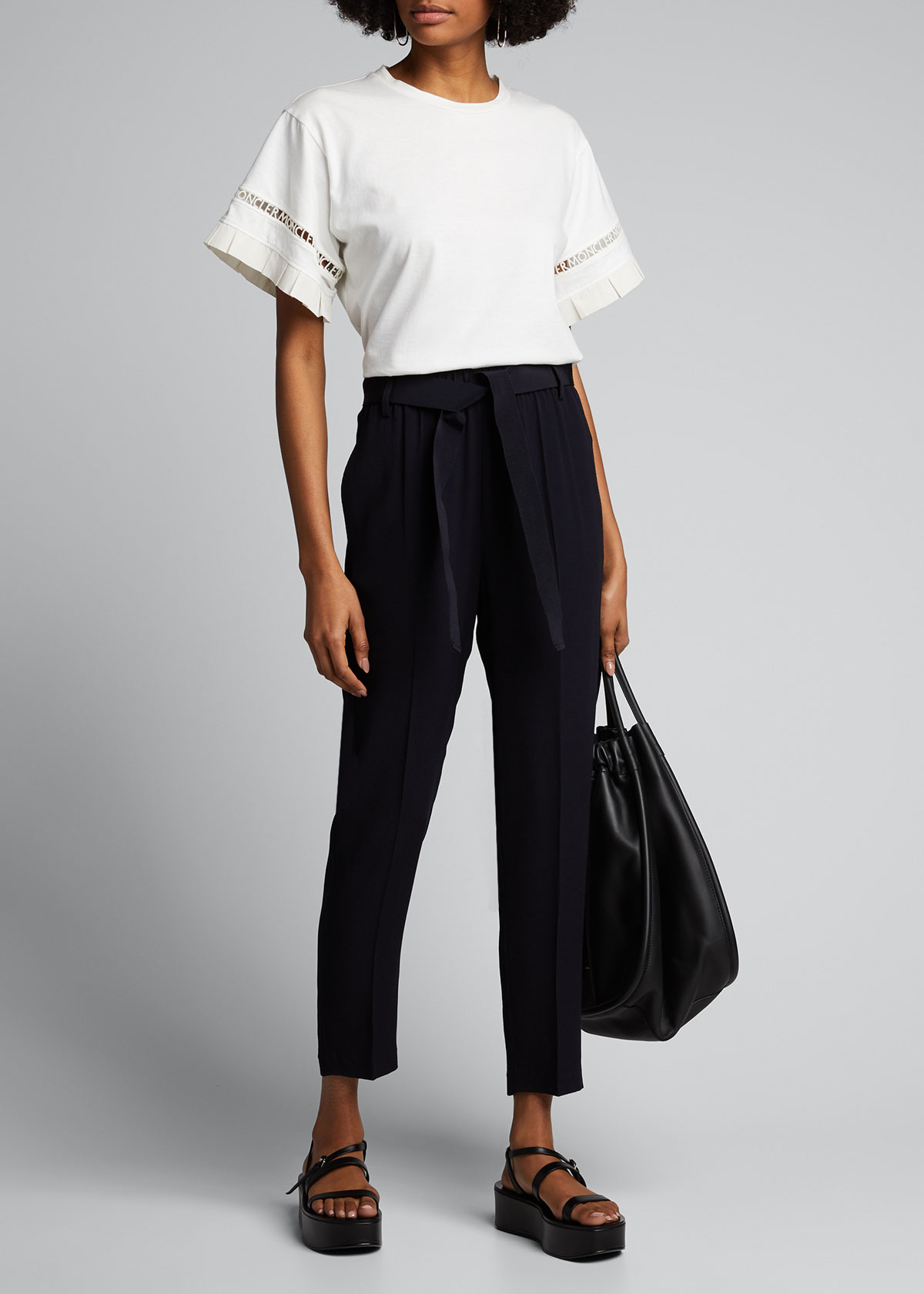 Moncler Belts CROPPED SELF-TIE BELTED TROUSERS