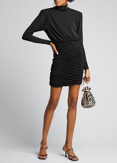 Isla Ruched Mock-Neck Mini Dress
