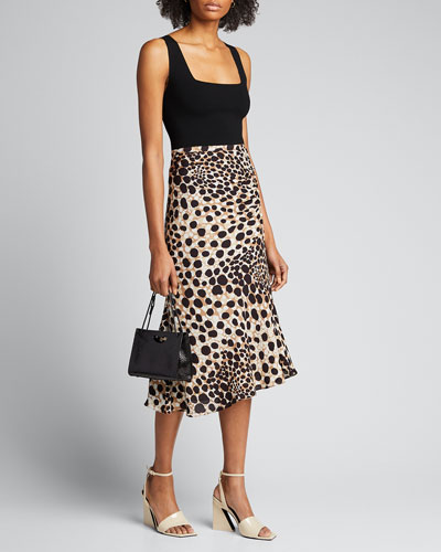 Haidee Leopard-Print Silk Skirt