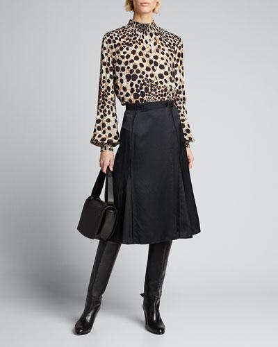 Camden Leopard-Print Mock-Neck Silk Shirt