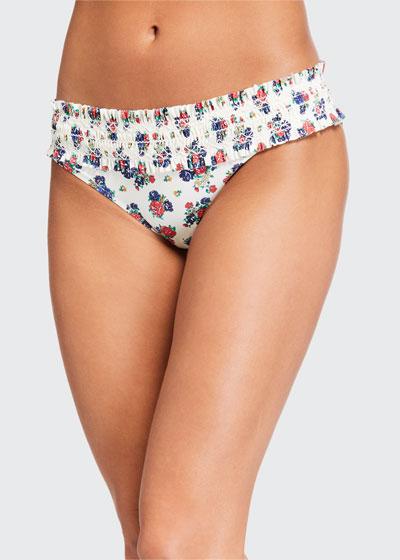 Costa Printed Hipster Smocked Swim Bikini Bottoms