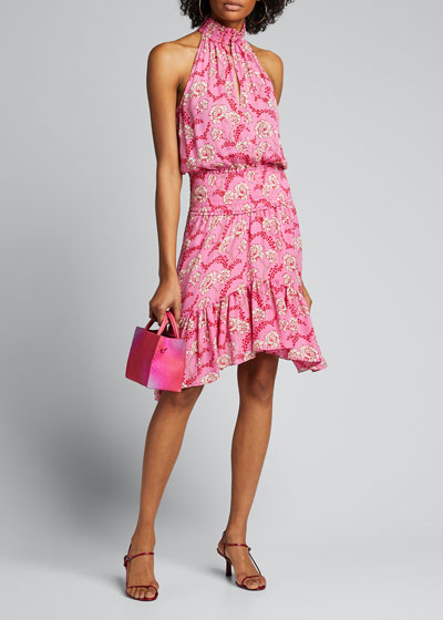 Cody Floral-Print Asymmetrical Halter Dress